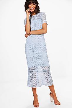 1930s Style Fashion Dresses Boutique Odette Crochet Midi Dress $69.00 AT vintagedancer.com
