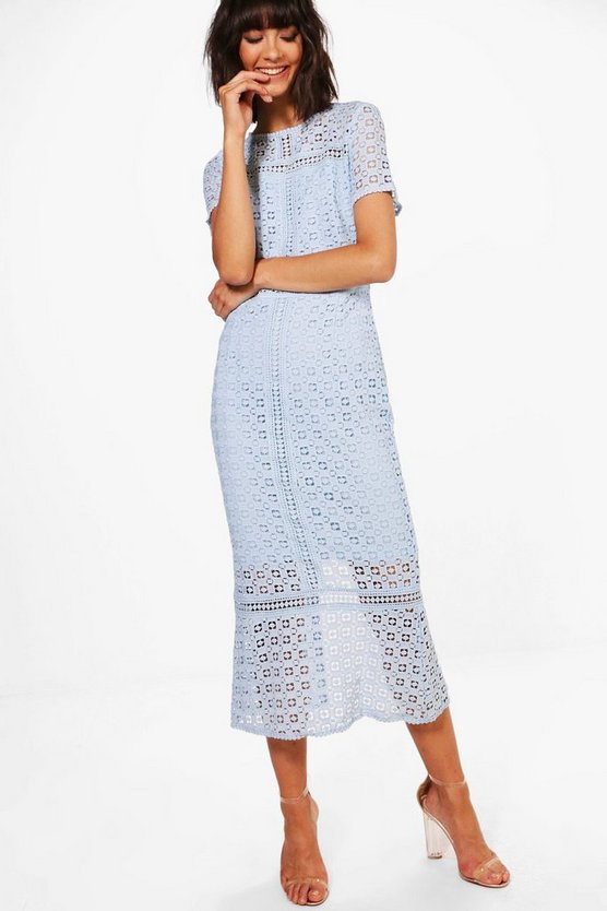 Womens Boutique Crochet Midi Dress