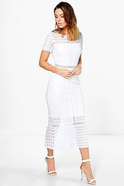 1930s Style Fashion Dresses Boutique Odette Crochet Midi Dress $66.00 AT vintagedancer.com