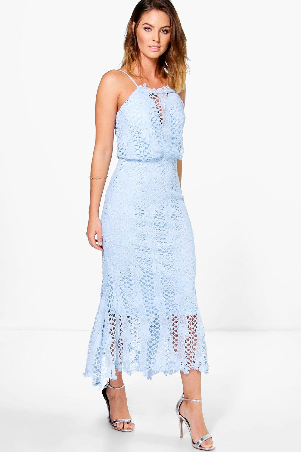 Boutique Hedvig Crochet Midi Dress Boohoo