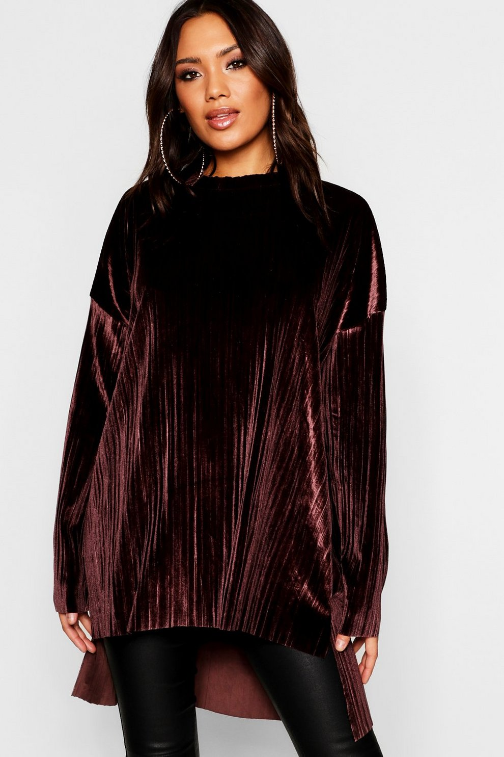 c2f486e7f040c Cara Boutique Pleated Velvet Dip Back Tunic | Boohoo