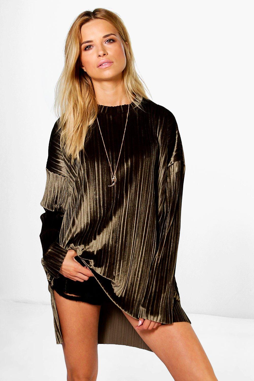 top estilo asimétrico Caqui terciopelo boutique detrás de cara por plisado túnica rqt4rB7