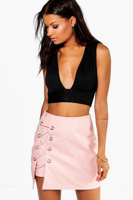 Lace Up Side Leather Look Mini Skirt