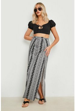 Multi Monochrome Thigh High Split Maxi Skirt