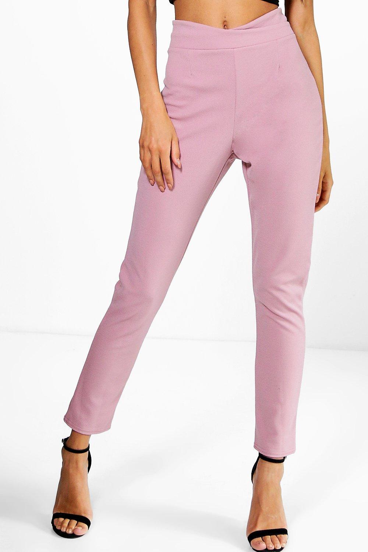 Boohoo-pantalones-skinny-en-crepe-elasticos-con-cintura-cruzada-naia-para-Mujer