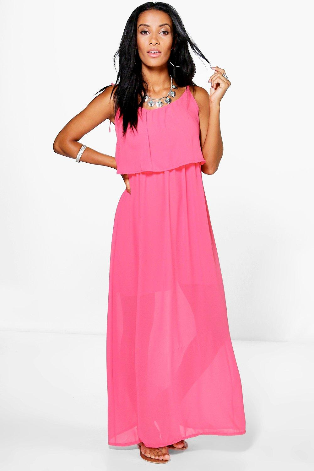 74405b4ac6a Womens Coral Sophina Frill Top Maxi Dress. Hover to zoom