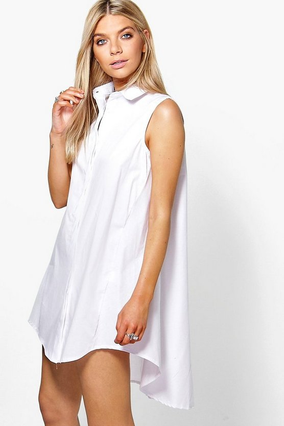 Sleeveless Drop Hem Shirt Dress
