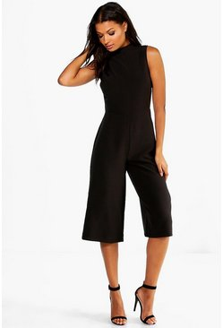 Womens Black High Neck Woven Culotte Jumpsuit