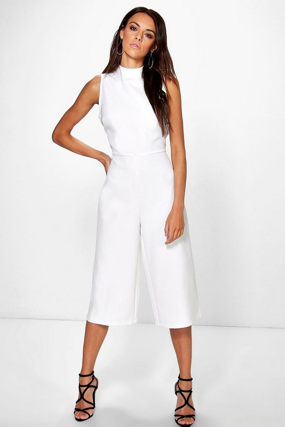 Womens Ivory High Neck Woven Culotte Jumpsuit