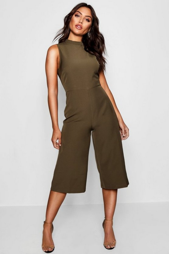 Womens Khaki High Neck Woven Culotte Jumpsuit