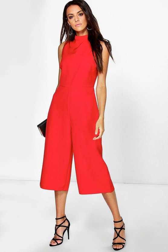 Womens Red High Neck Woven Culotte Jumpsuit