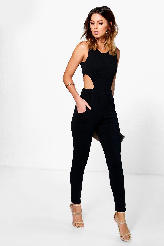 Boohoo Womens Lottie Side Cut Out Skinny Leg Jumpsuit Ebay