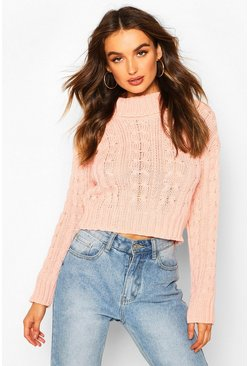 Womens Blush Marl Cable Knit Chunky Crop Sweater