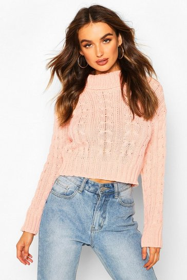 Womens Blush Marl Cable Knit Chunky Crop Jumper