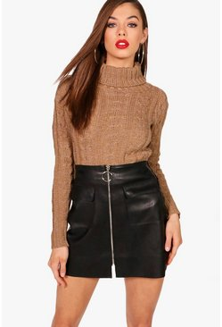 Womens Camel Marl Cable Knit Chunky Crop Jumper