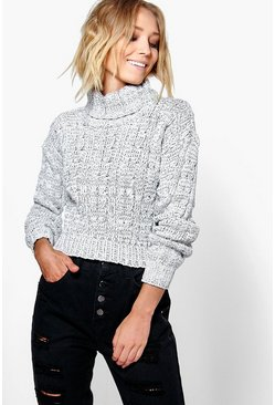Womens Grey Marl Cable Knit Chunky Crop Sweater