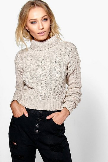 Stone Marl Cable Knit Chunky Crop Jumper