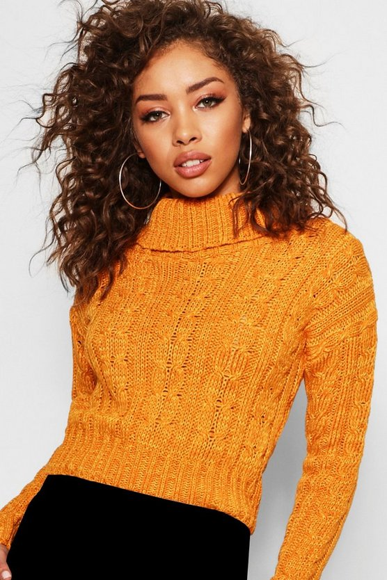 Marl Cable Knit Chunky Crop Sweater