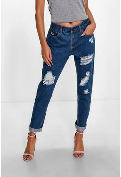 Womens Mid blue Maisie Mid Rise Ripped Mom Jeans