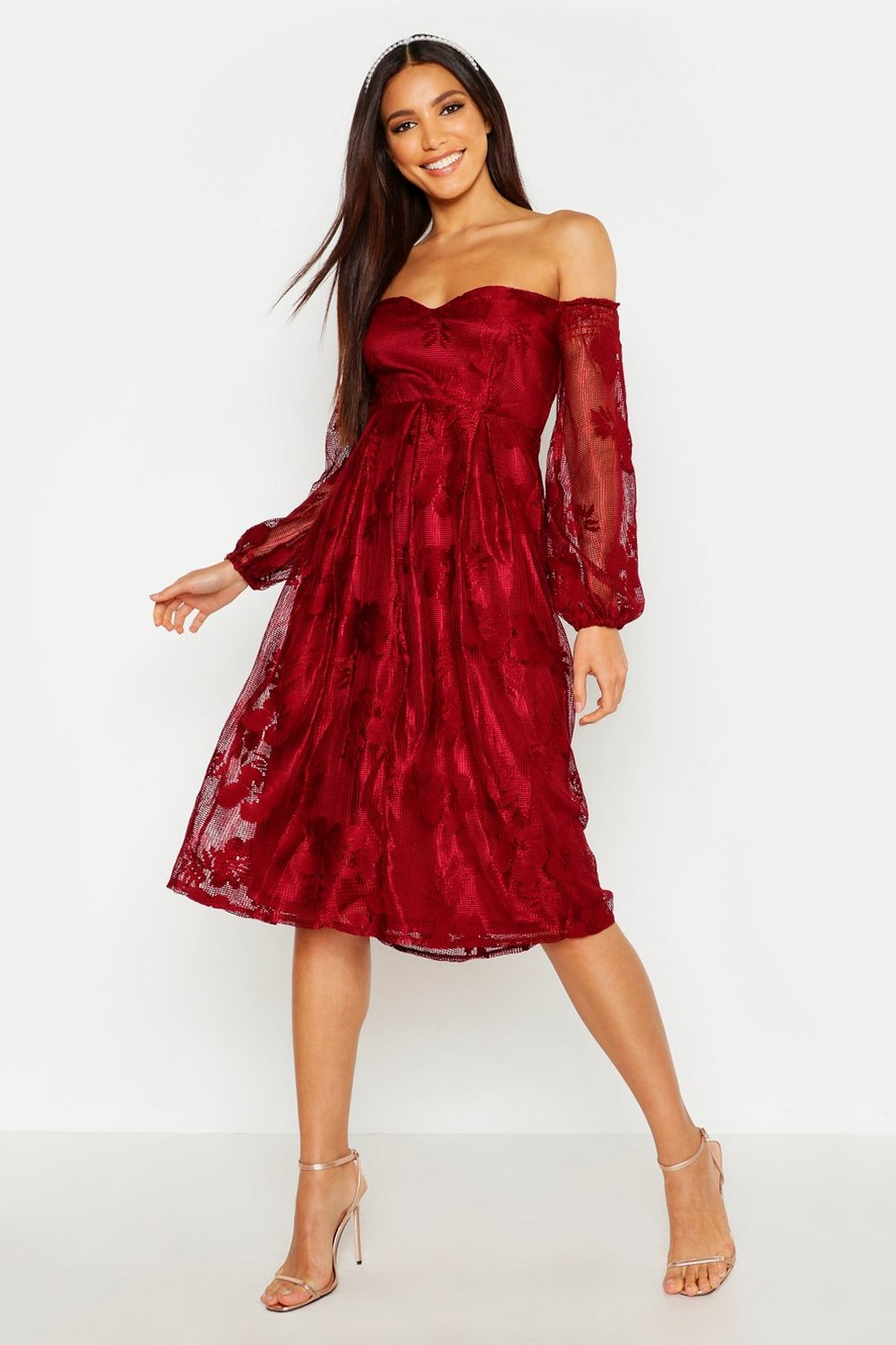a517f6f18e1b Boutique Lace Bardot Long Sleeved Dress | Boohoo