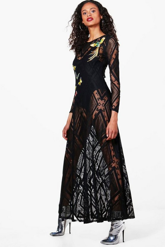 Boutique Suzie Lace Applique Maxi Dress