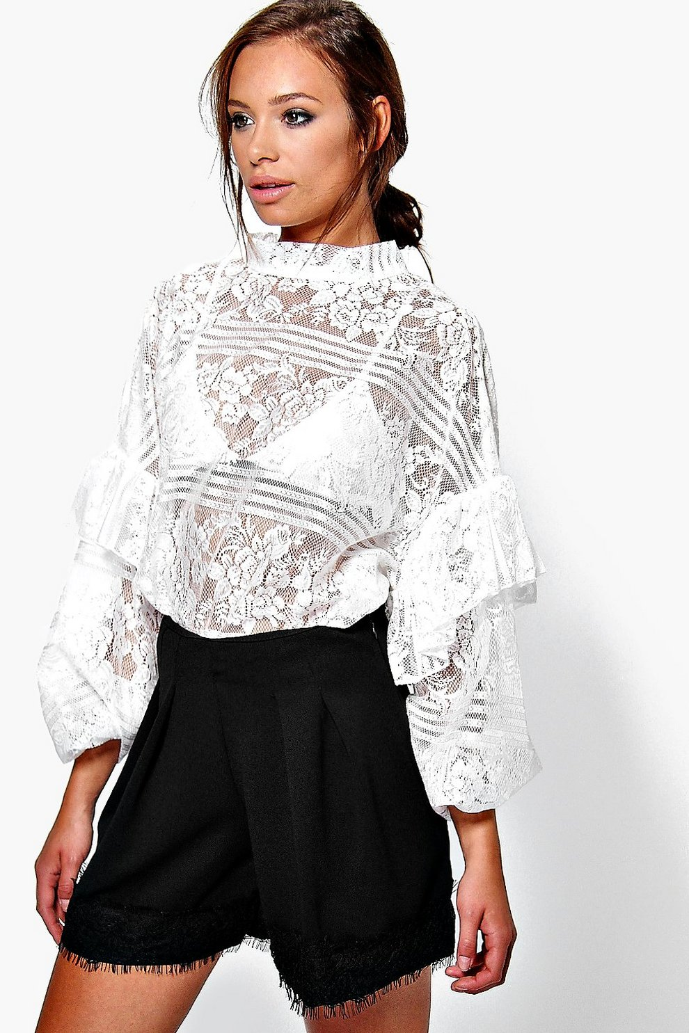 3570b0af1db Mia Lace Ruffle Sleeve Tie Neck Oversize Blouse