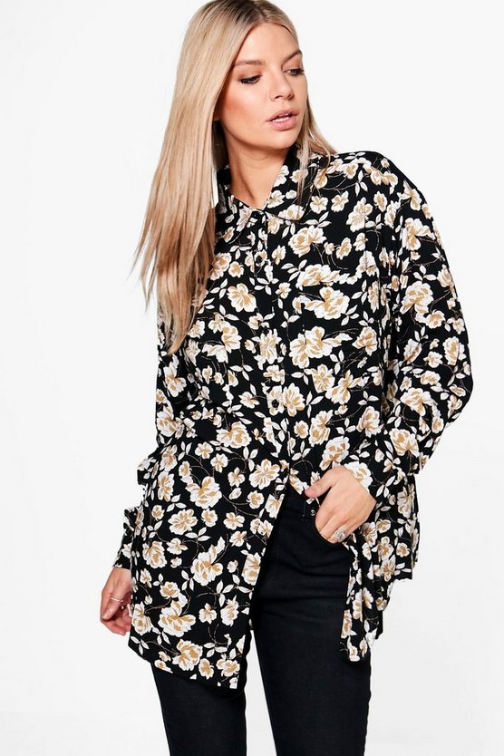 Lucy Dark Floral Oversized Shirt