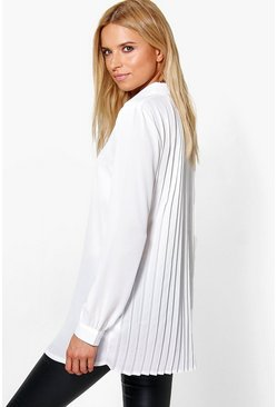 Womens White Pleat Back Long Sleeve Shirt