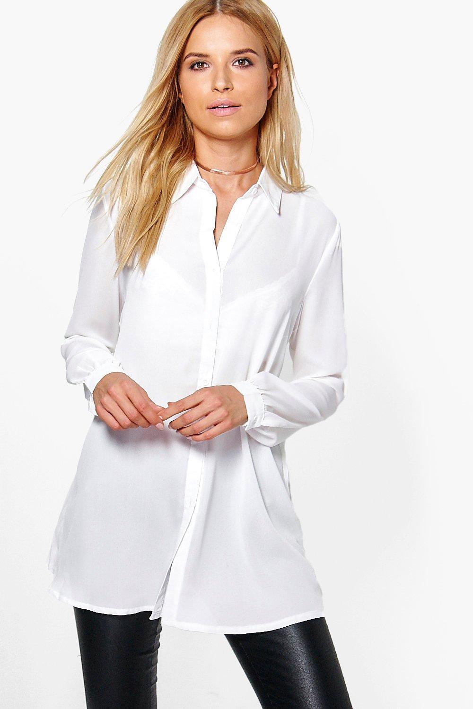 por larga Blanco plisada Camisa con manga detrás Zgx5qn