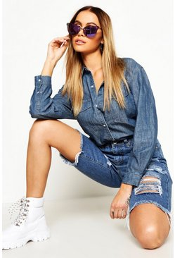 Womens Mid blue Oversize Denim Shirt