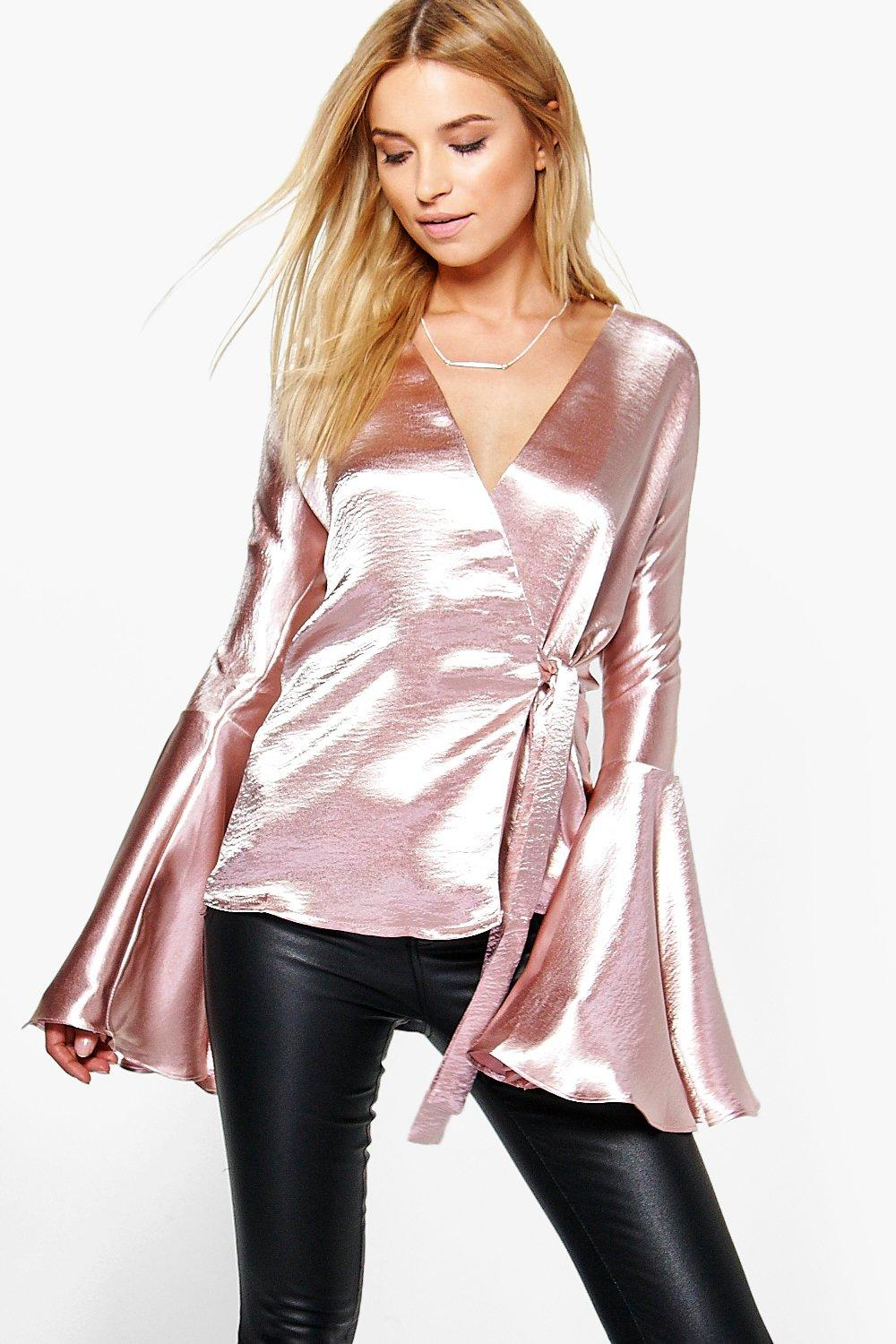 48a62555b2a936 Womens Blush Alice Satin Wrap Over Flute Sleeve Blouse. Hover to zoom