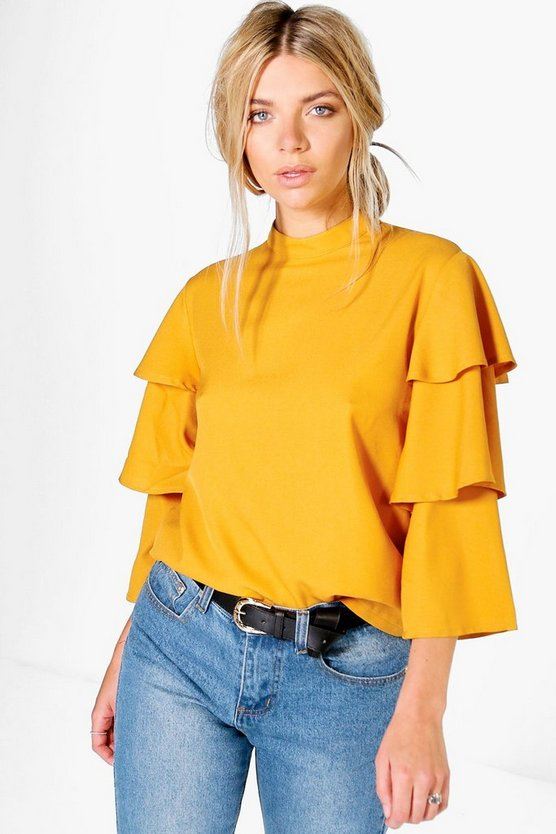 Amber Tiered Sleeve High Neck Top