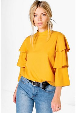 Womens Amber Tiered Sleeve High Neck Top
