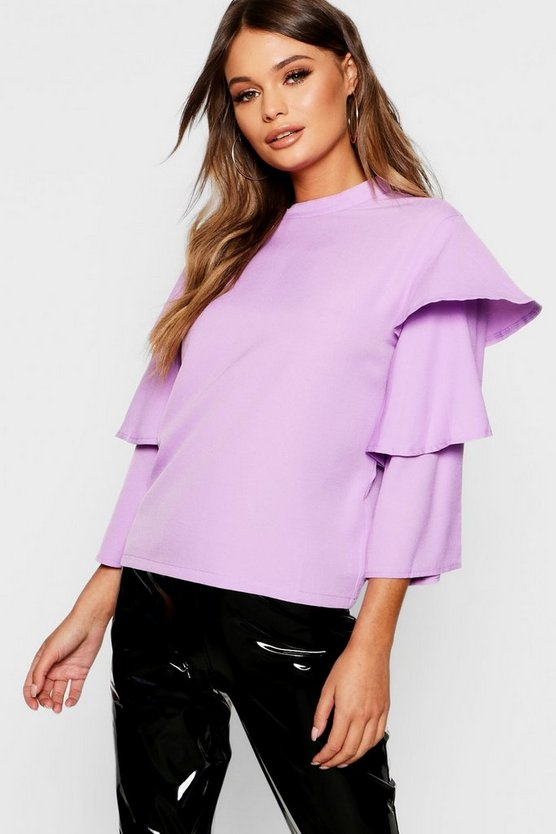 Tiered Sleeve High Neck Top