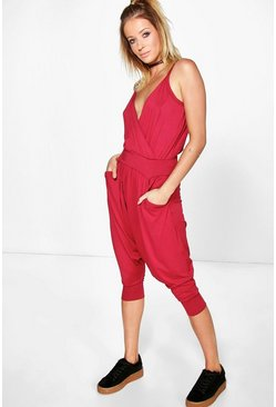 Womens Wine Jamie Wrap Front Jumpsuit