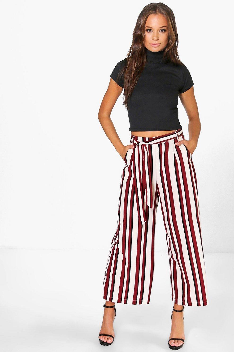 daecdc83d8 Amera Tie Waist Woven Stripe Wide Leg Crop Trousers   Boohoo