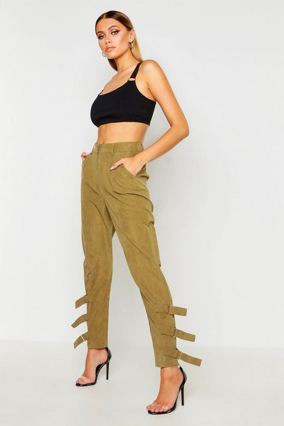 Khaki Nysa Buckle Ankle Soft Touch Utility Pants