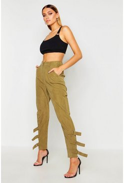 Womens Khaki Nysa Buckle Ankle Soft Touch Utility Trousers