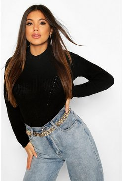 Womens Black Open Knit Turtle Neck Sweater