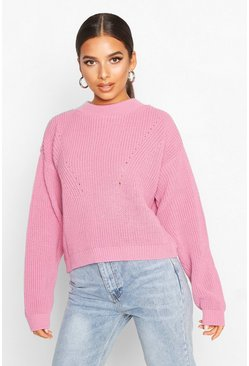 Womens Pink Open Knit Turtle Neck Jumper