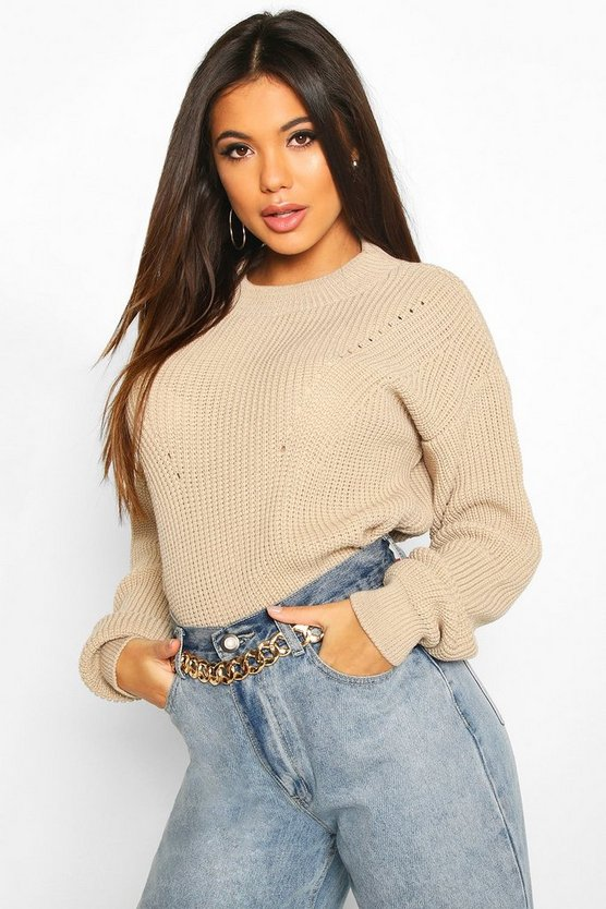 Stone Open Knit Turtle Neck Jumper
