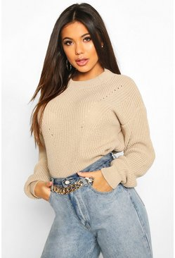 Womens Stone Open Knit Turtle Neck Jumper
