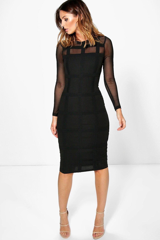 Boutique Gia Grid Mesh Bodycon Midi Dress  7dd2f5e5391f