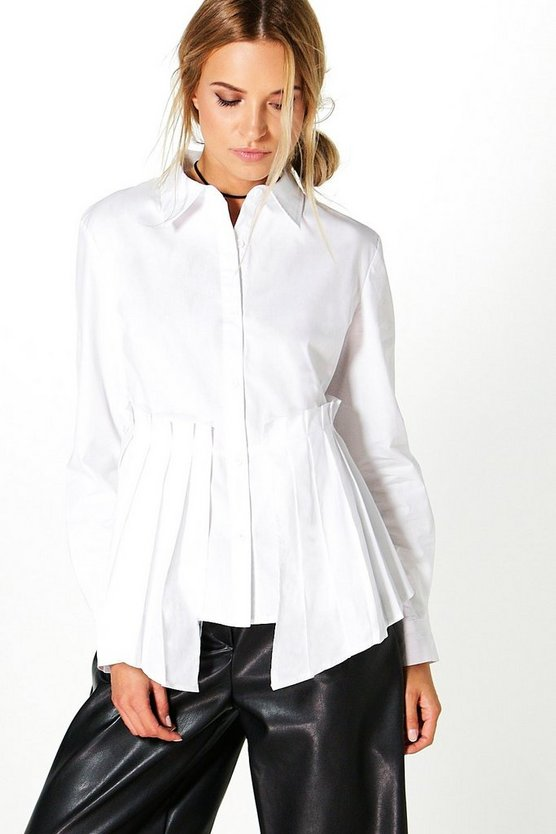 Pleated Peplum Long Sleeve Shirt