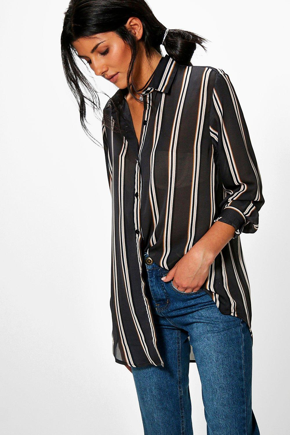 4ec9ce2c094f Womens Grey Jacky Striped Oversized Shirt. Hover to zoom