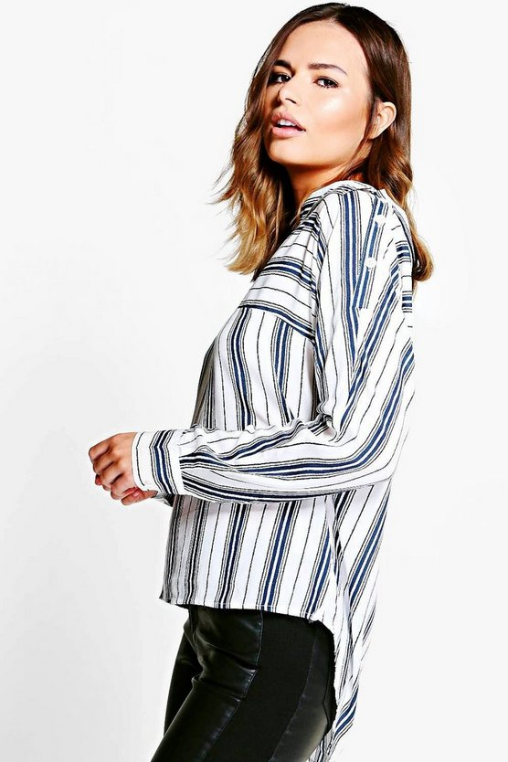 Kellie Striped Button Shoulder Shirt
