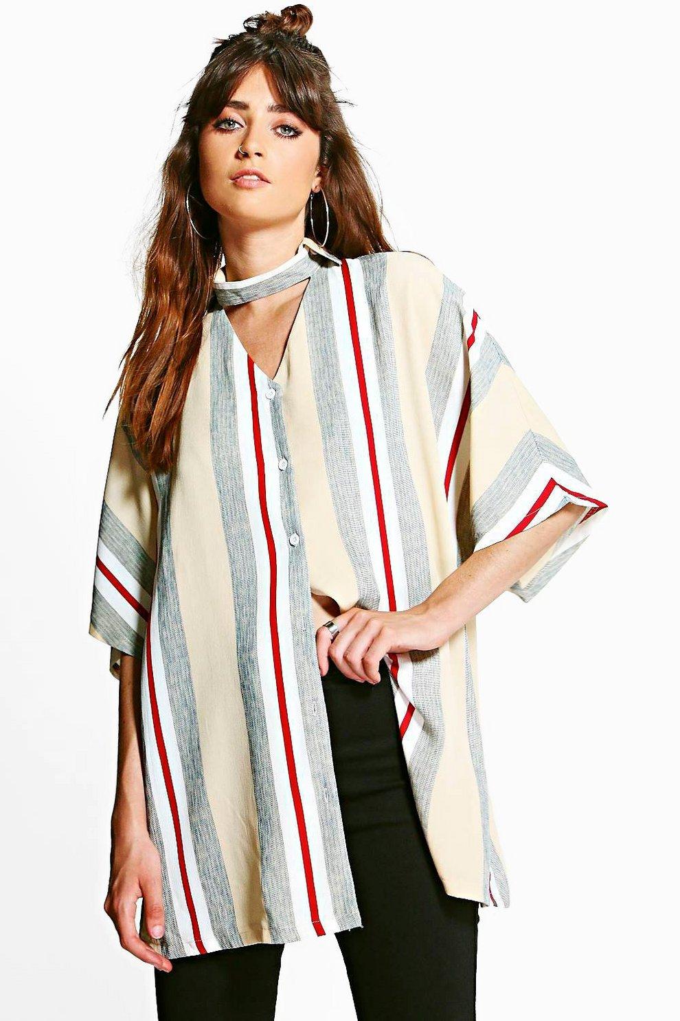 4bf6b0fdab7b Womens Multi Lola Striped Choker Detail Shirt