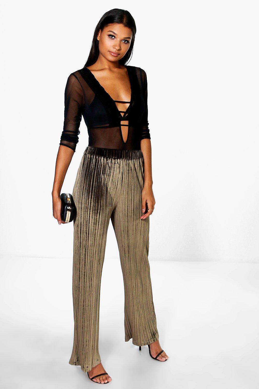 4401e2da53368 Womens Khaki Boutique Pleated Velvet Wide Leg Trousers