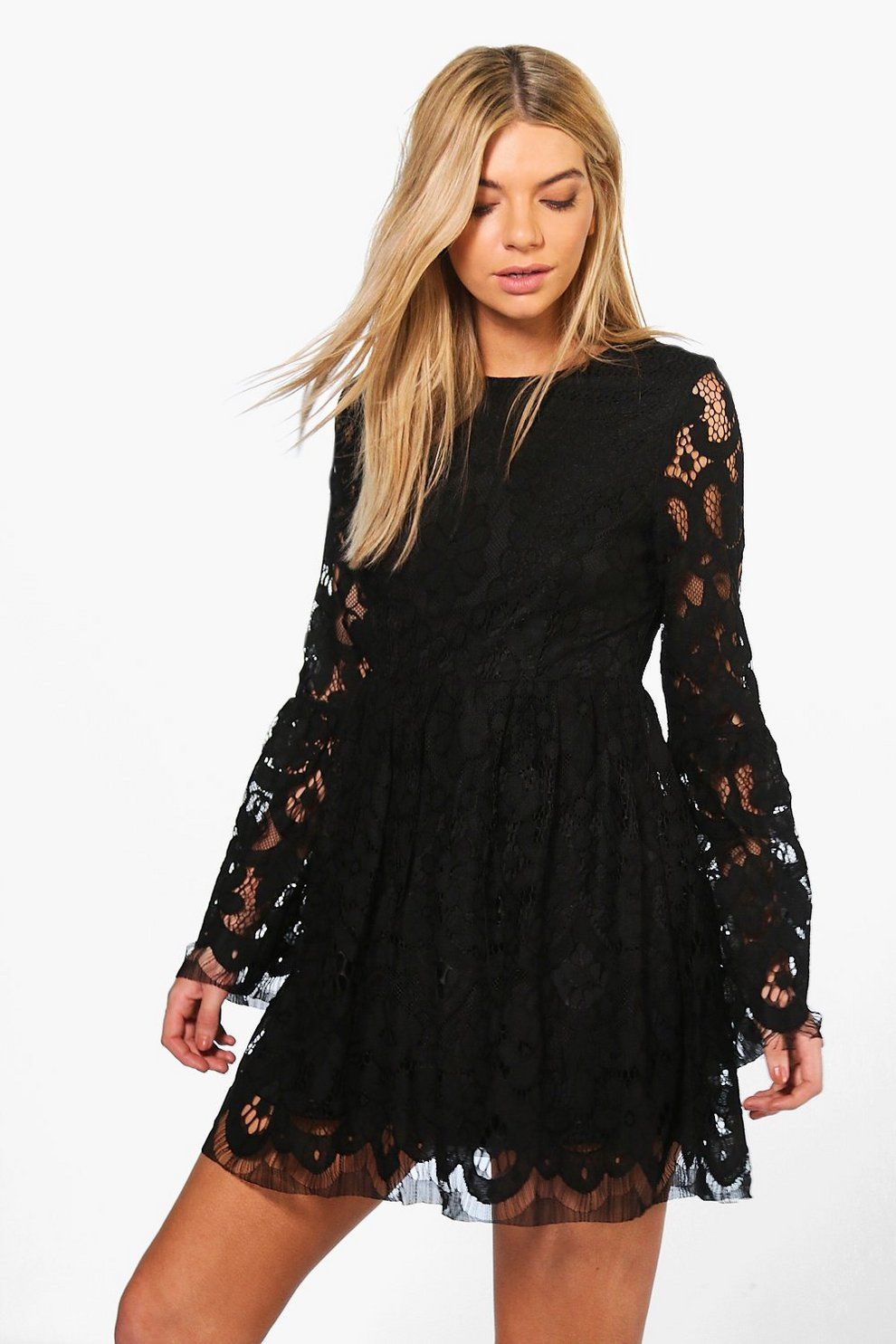 fd461133d35f Boutique Fi Lace Bell Sleeve Fit   Flare Dress