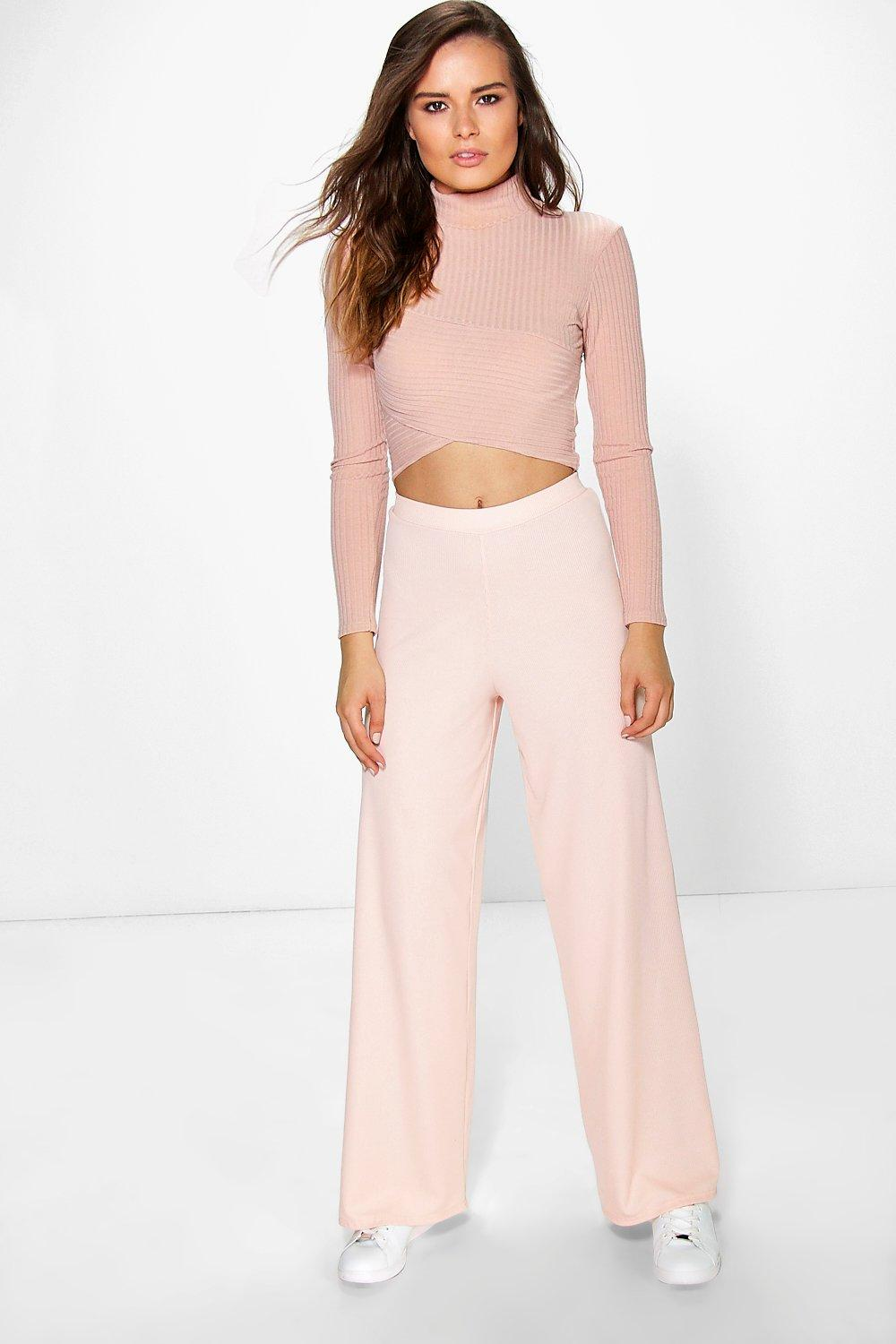 b9794d06f4d3c Darcey Ribbed Wide Leg Trousers. Hover to zoom